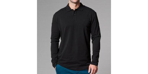 Pánské černé polo tričko s dlouhým rukávem Pietro Filipi