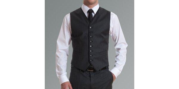 Pánská tmavě šedá vzorovaná vesta Pietro Filipi