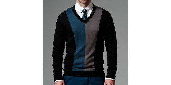 Pánský černý svetr s kontrastními pruhy Pietro Filipi
