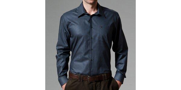 Pánská modro-černá košile s dlouhým rukávem Pietro Filipi