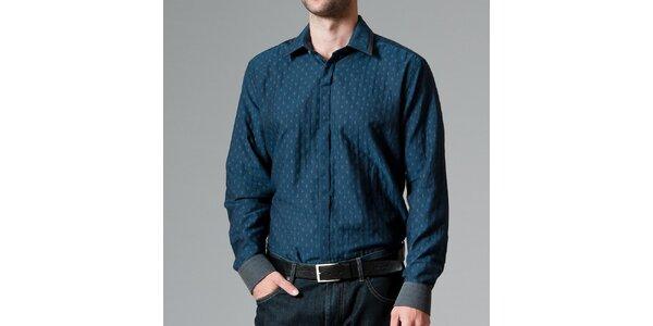Pánská tmavo modrá košile se vzorem Pietro Filipi