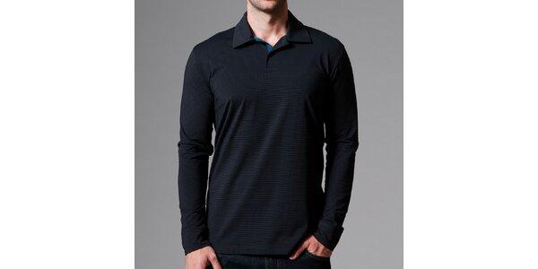 Pánské černé polo tričko s proužky Pietro Filipi
