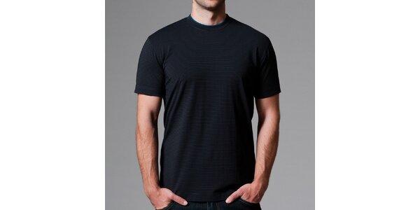 Pánské černé pruhované tričko Pietro Filipi