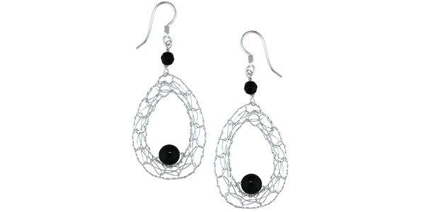 Dámské visací stříbrné náušnice s černými korálky Orchira