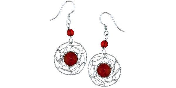 Dámské visací stříbrné náušnice s červenými korálky Orchira