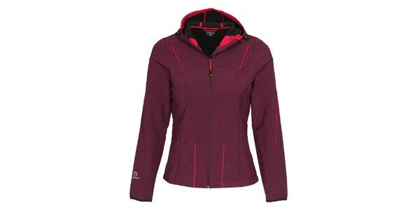 Dámská tmavě fialová softshellová bunda s kapucí Bergson