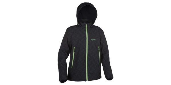 Pánská softshellová bunda s kapucí se zelenými prvky Kilpi