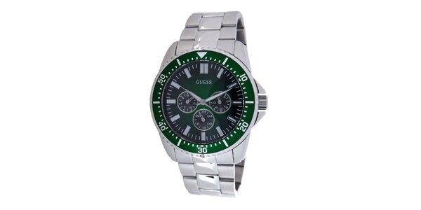 Pánské ocelové hodinky Guess s tmavě zeleným ciferníkem