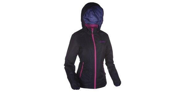 Dámská černá bunda s kapucí a růžovými zipy Kilpi