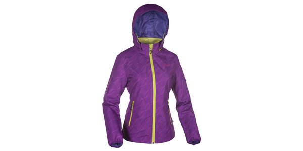 Dámská fialová bunda s kapucí a neonovými zipy Kilpi