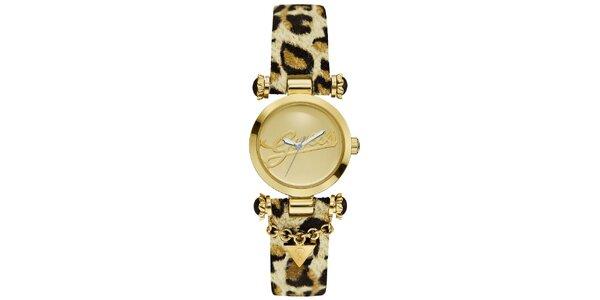 Dámské zlaté hodinky Guess s leopardím řemínkem
