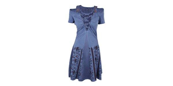 Dámské fialové šaty se širokou sukní Angels Never Die