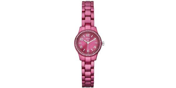 Dámské tmavě růžové ocelové hodinky Guess