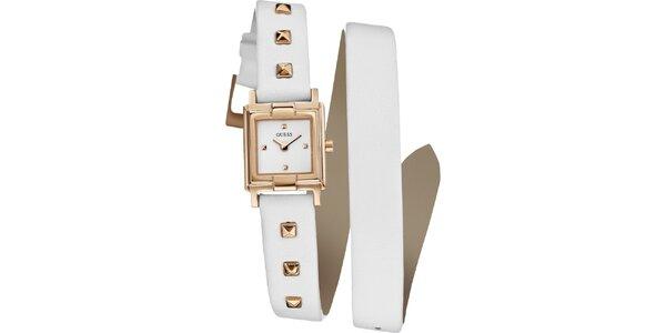Dámské zlaté hodinky Guess s bílým řemínkem