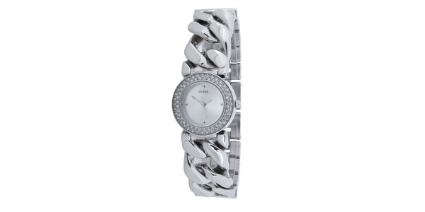 Dámské stříbrné hodinky Guess s vykládaným ciferníkem