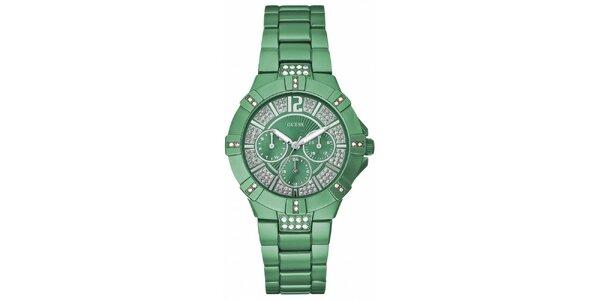 Dámské zelené náramkové hodinky Guess