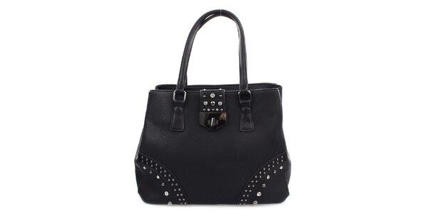 Dámská černá kabelka se zámečkem a cvočky Bessie