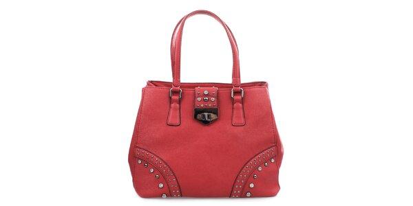 Dámská červená kabelka se zámečkem a cvočky Bessie