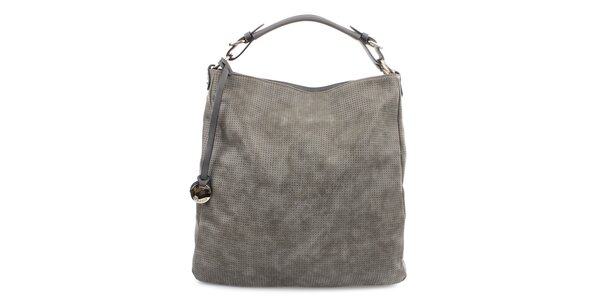 Dámská šedá kabelka s dekorativním perforováním Bessie