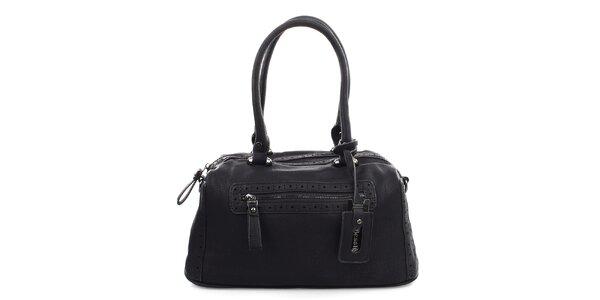 Dámská černá kabelka s dekorativní perforací Bessie