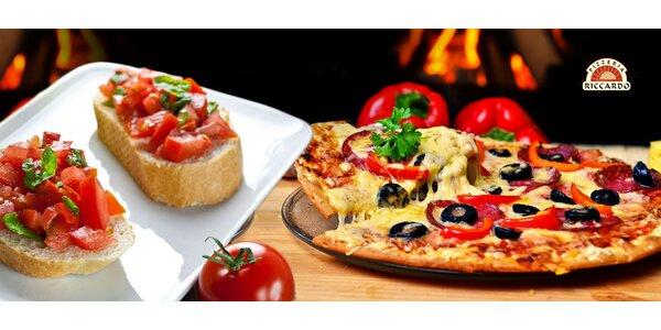 2 pizzy včetně předkrmů v pizzerii Riccardo na Letné