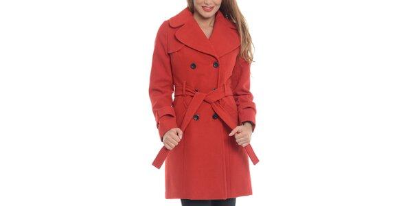 Dámský červený vlněný kabát Vera Ravenna