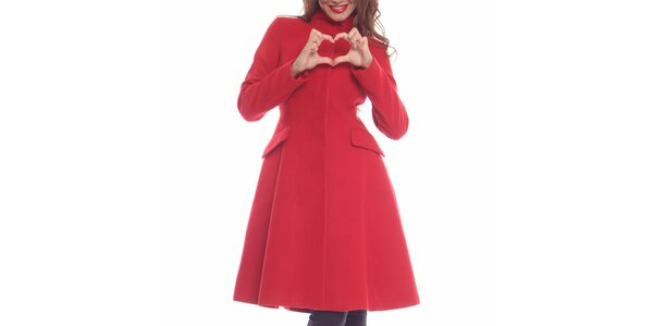 Dámský rudý projmutý kabát Vera Ravenna