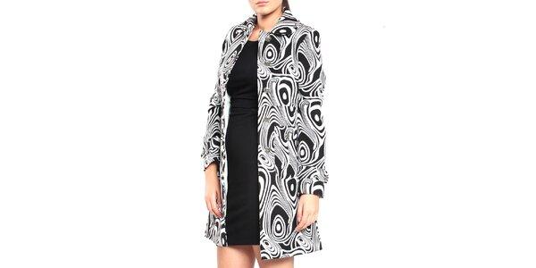 Dámský černo-bílý vzorovaný kabát Vera Ravenna