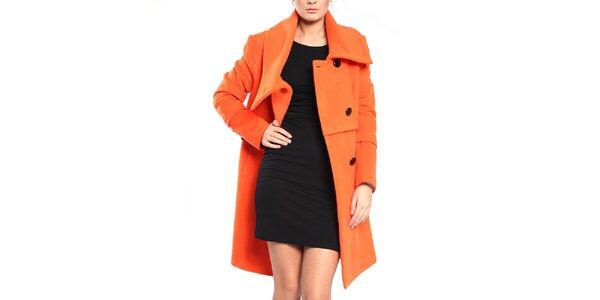 Dámský oranžový kabát na knoflíky Vera Ravenna