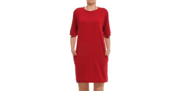 Dámské červené rovné šaty s kapsami Yuliya Babich