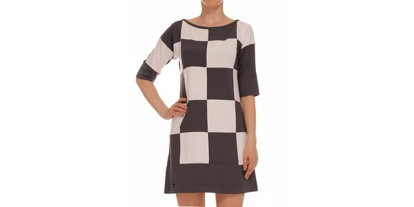 Dámské dvoubarevné kostkované šaty s 3/4 rukávem Yuliya Babich