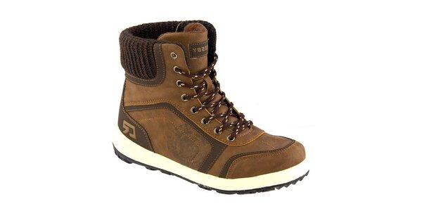 Dámské hnědé kotníkové boty s pleteninou Crosby