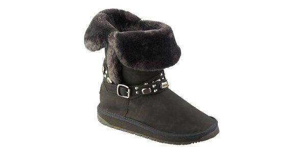 Dámské tmavě šedé boty s kožíškem Keddo