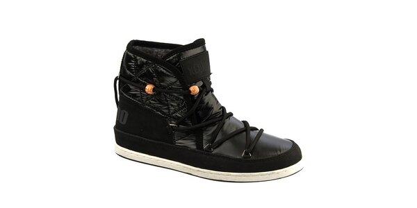 Dámské černé boty s kožíškem a korálky Keddo