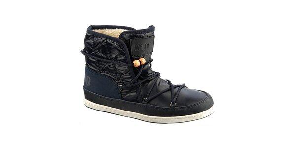 Dámské tmavě modré boty s kožíškem a korálky Keddo