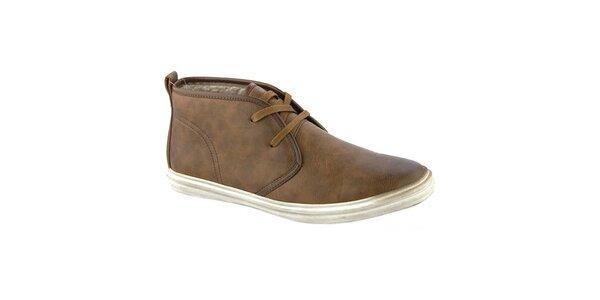 Pánské hnědé kotníkové boty s vlněným interiérem Crosby