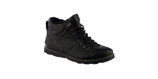 Pánské černé šněrovací boty s kožíškem Keddo