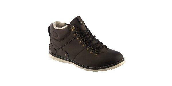 Pánské tmavě hnědé šněrovací boty s kožíškem Keddo