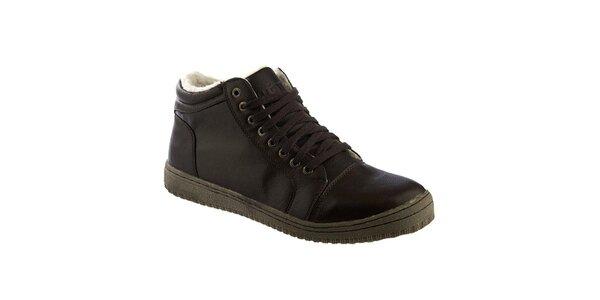 Pánské tmavě hnědé boty s kožíškem Keddo