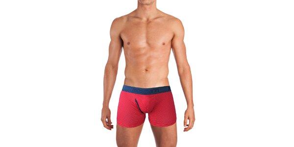 Pánské červené boxerky s proužky Mosmann