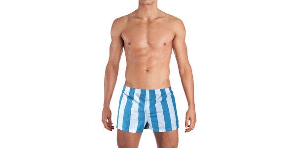 Pánské modro-bíle pruhované boxerky Mosmann