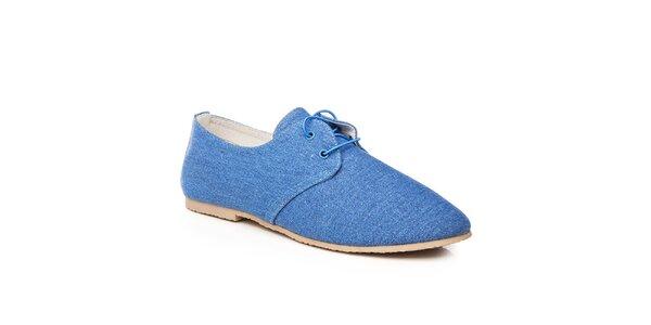 Dámské modré textilní polobotky Keddo
