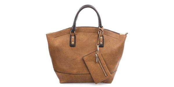 Dámská hnědá kabelka s drobnou kapsou Bessie