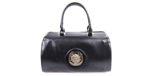 Dámská černá kabelka s kovovým kulatým komponentem Bessie