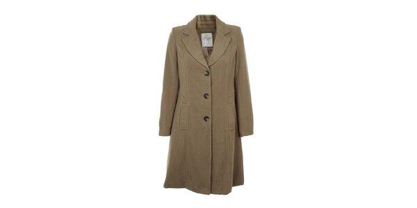 Dámský jednořadový hnědobéžový kabát Gémo