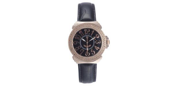 Dámské černé hodinky s drobnými diamanty Lancaster