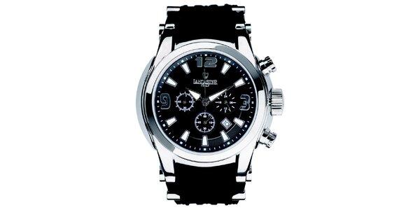 Pánské hodinky s chronografem a černým páskem Lancaster
