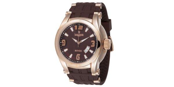 Pánské pozlacené hodinky Lancaster s hnědým řemínkem