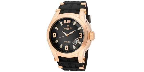 Pánské pozlacené hodinky Lancaster s černým řemínkem