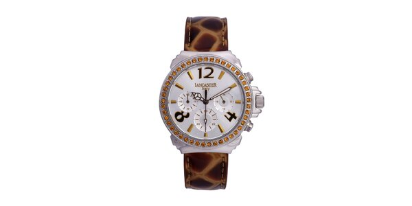 Dámské zlato-stříbrné analogové hodinky se Swarowski elementy Lancaster